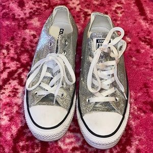 Silver Sparkly Converse Sneakers